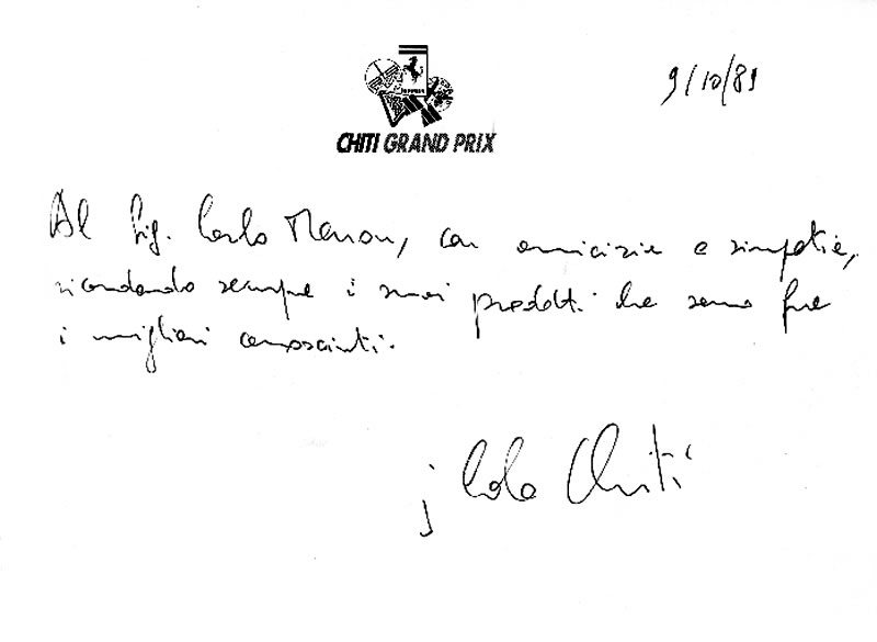 Dedica di Carlo Chiti a Carlo Menon