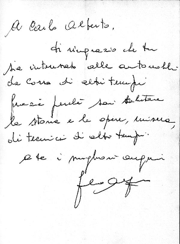 Dedica Ing. Giulio Alfieri a Carlo Alberto Menon